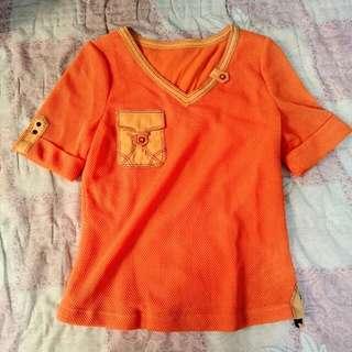 °°全新°° 橘色造型短袖上衣
