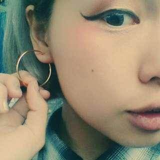 ○金色圓型耳環○ 歐美 大圓耳環 金銀 個性 嘻哈