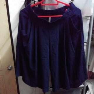 [全新] 深藍色側拉鍊大口袋寬管褲 偽裙子褲子