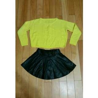 (二手)短版毛衣皮質短裙