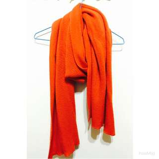 橘色 寬版毛料長圍巾