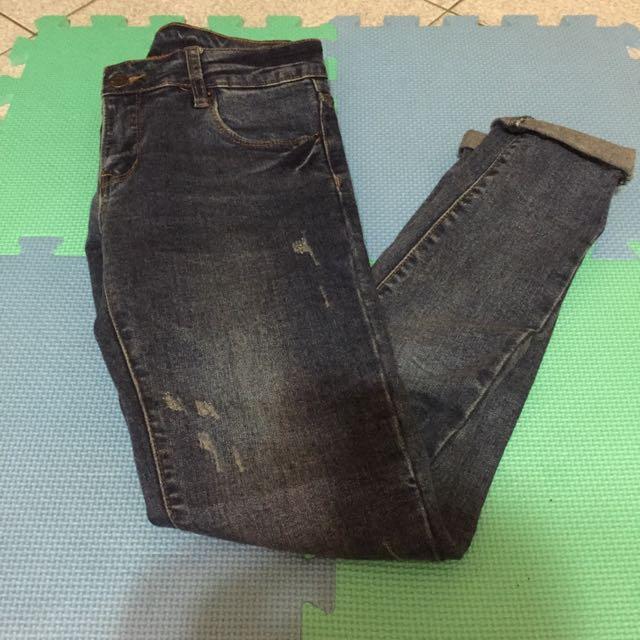 +1元免運費✅Caco小直筒刷色牛仔褲