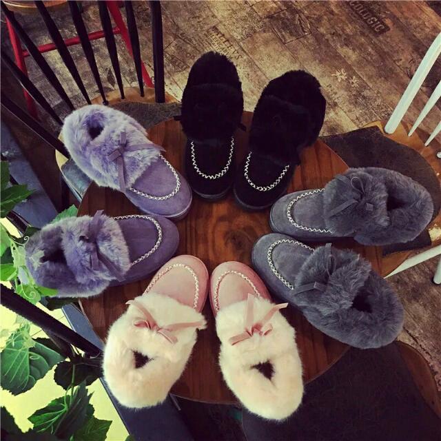 2015絨毛豆豆鞋女韓版冬季雪靴平底短靴子毛毛保暖鞋