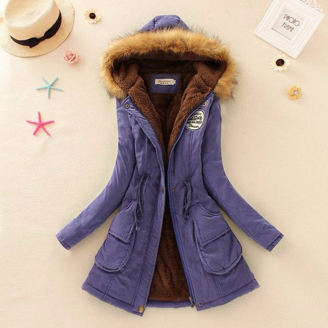 2015新款時尚韓版中長款大碼大毛領加厚外套