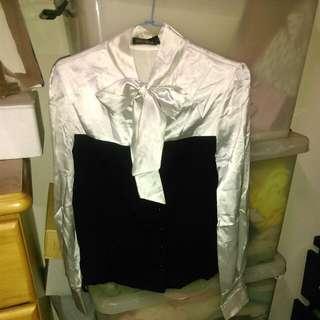 領口蝴蝶結假兩件式馬甲襯衫