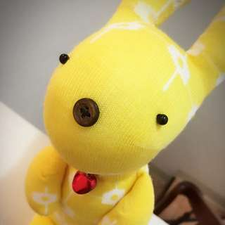 純手工襪子娃娃~短腿兔兔園區/黃小花