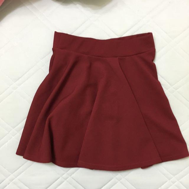 酒紅氣質西裝面料傘裙太陽裙短裙