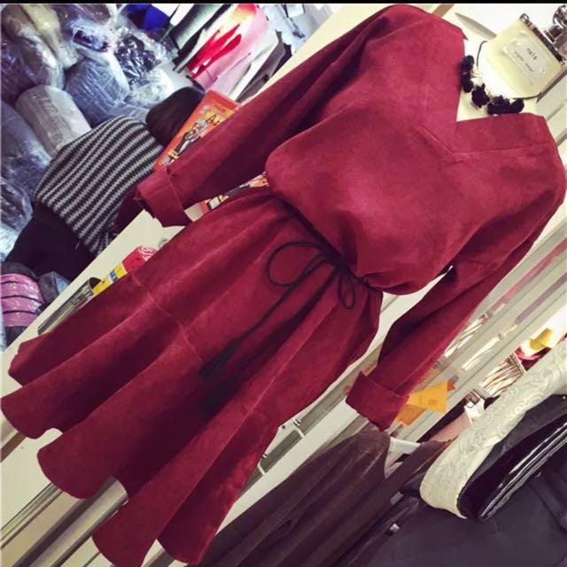 氣質小紅洋裝(全新)