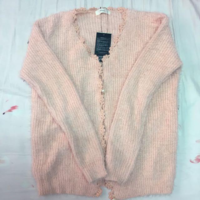 全新針織粉橘外套