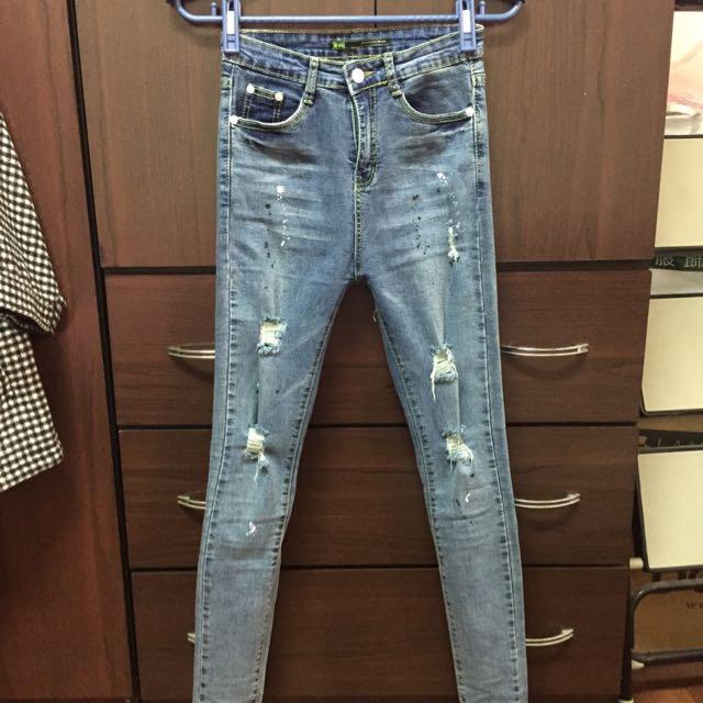 激瘦高腰潑漆設計牛仔褲