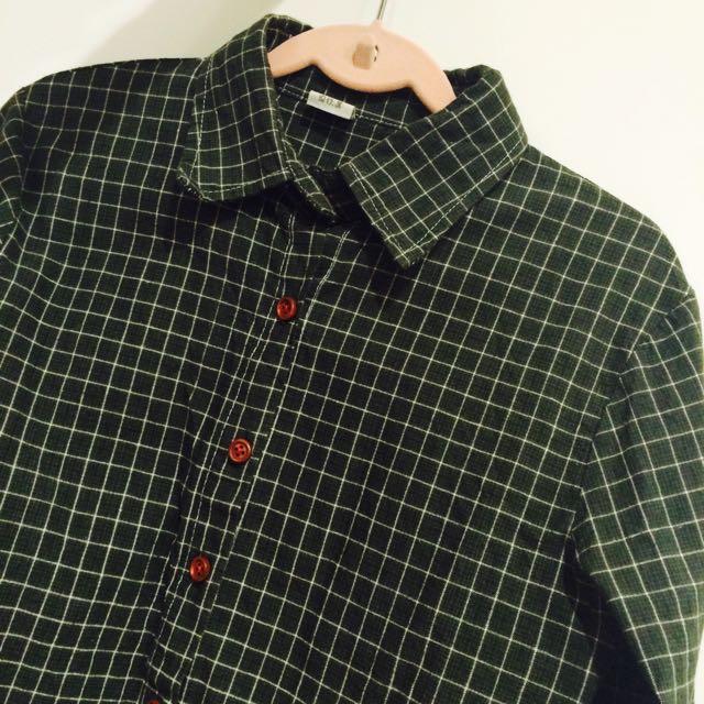 墨綠白紋格子襯衫