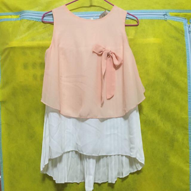 甜美雪紡紗洋裝(橘粉)現貨
