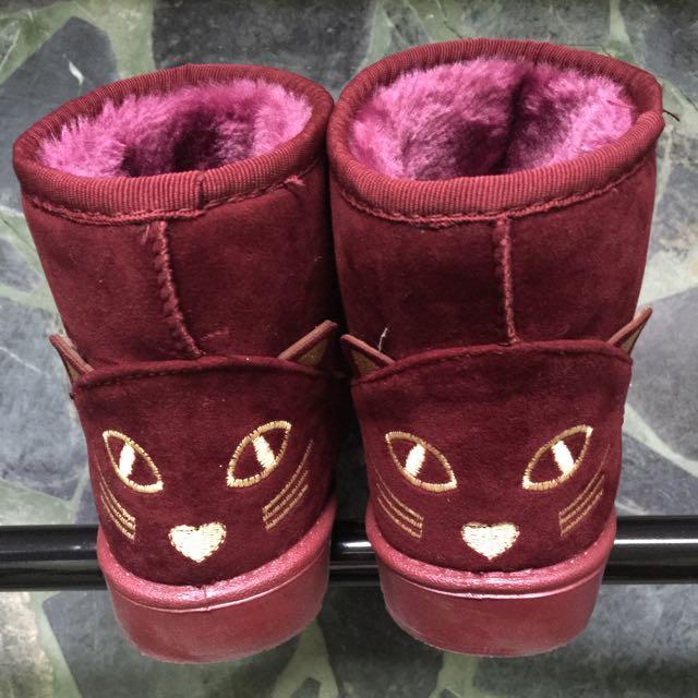 紅色貓咪雪靴