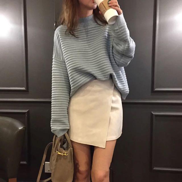 韓系橫紋針織毛衣-淺藍(保留中)