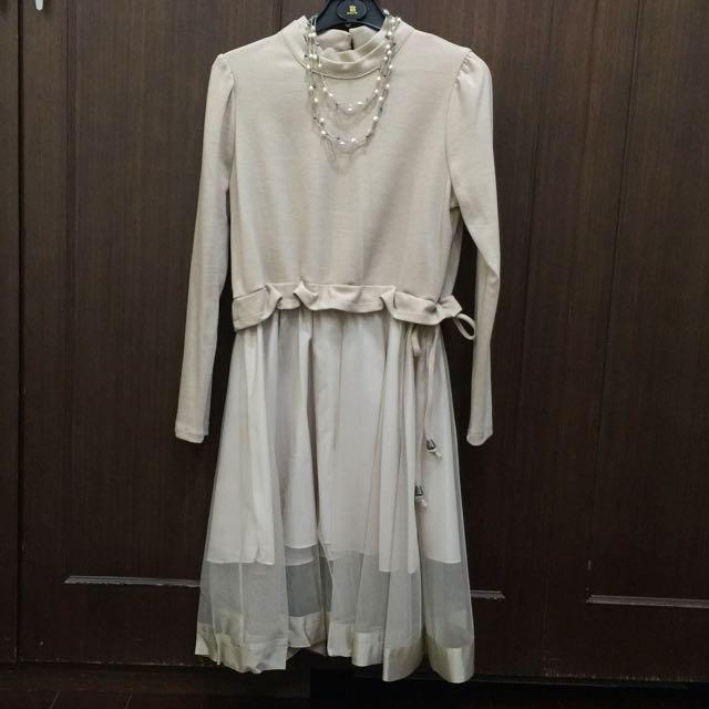 全新正韓拼接材質洋裝