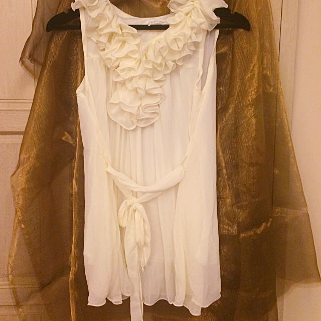 日牌質感雪紡百摺長版上衣-白