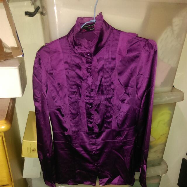 羅蘭紫鍛面絲質襯衫
