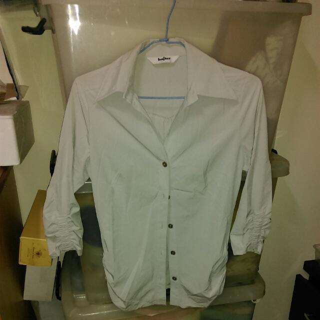 灰藍彈性修身襯衫
