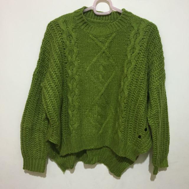 綠色針織毛衣