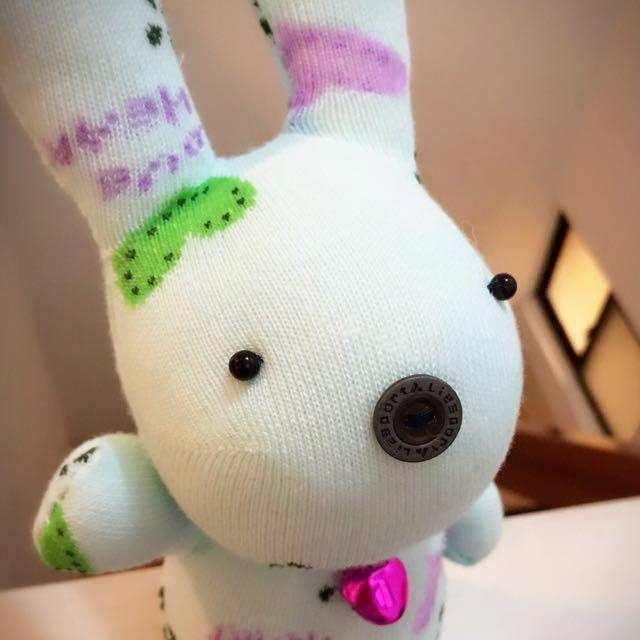 純手工襪子娃娃~短腿兔兔園區/桃心小愛