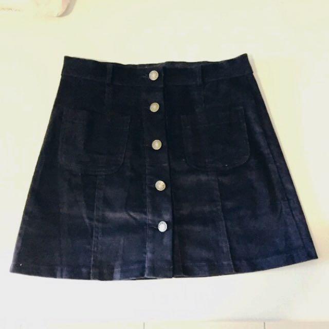 燈芯絨短裙 深藍
