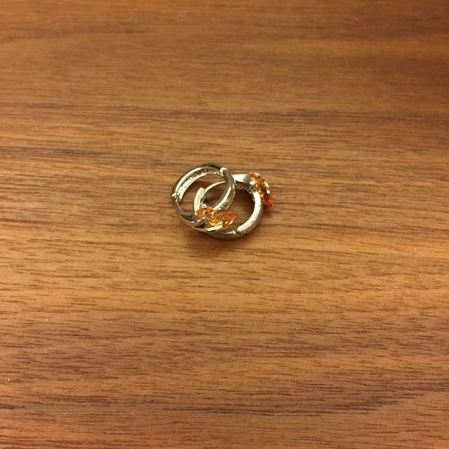 心型彩晶 圈圈耳環