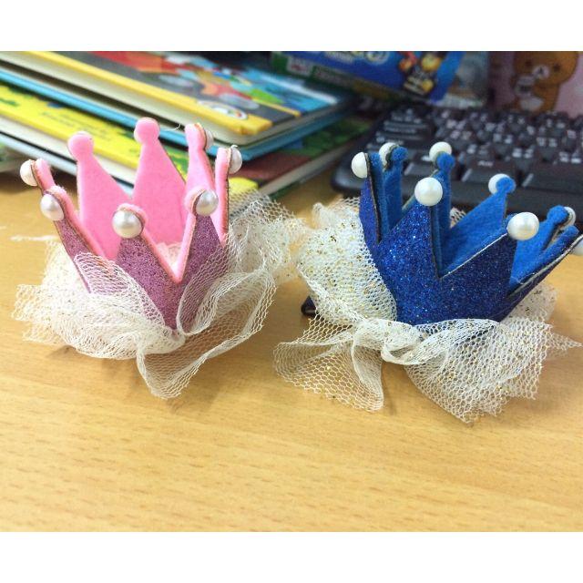 珍珠皇冠蕾絲 手工寶寳髮夾 兩個合售