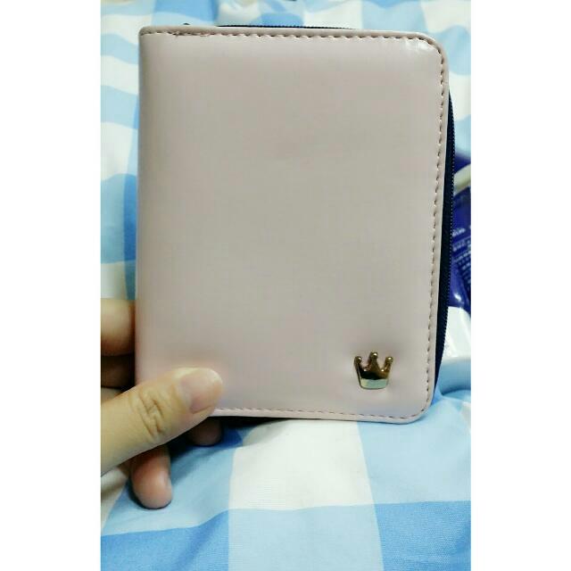 #九成新 馬卡龍 淡粉色短夾 零錢包