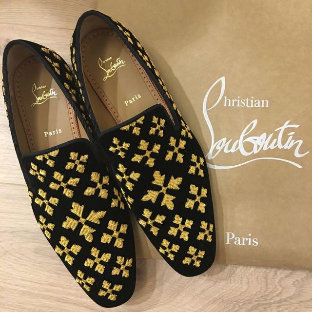 近全新 紅底鞋:專櫃正品絨刺繡Christian Louboutin