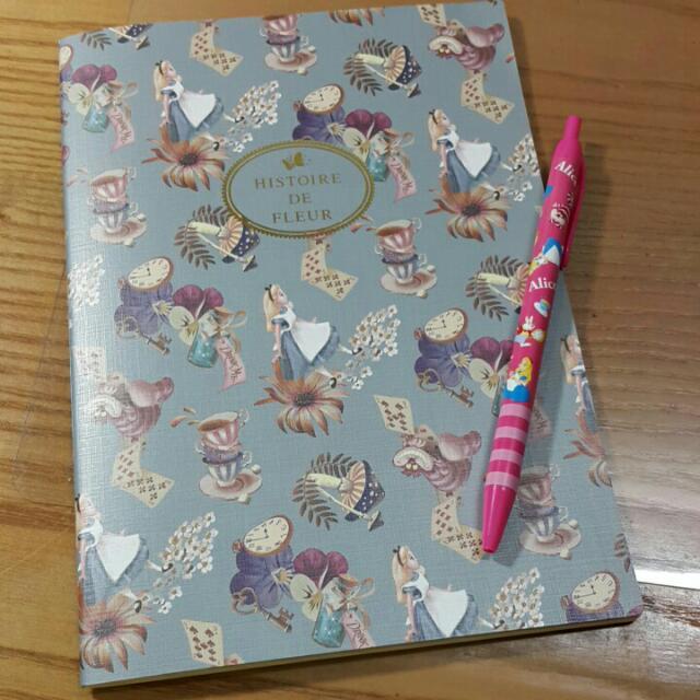 迪士尼 disney 愛麗絲 alice 妙妙貓 筆記本 筆