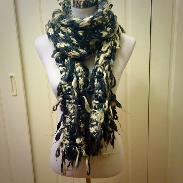 Black, White and Blue Knit Scarf