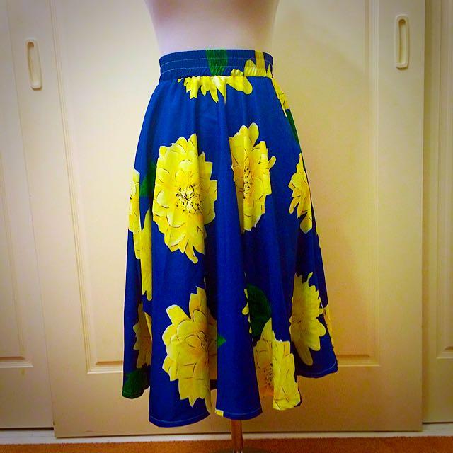 Blue Floral Midi Skirt