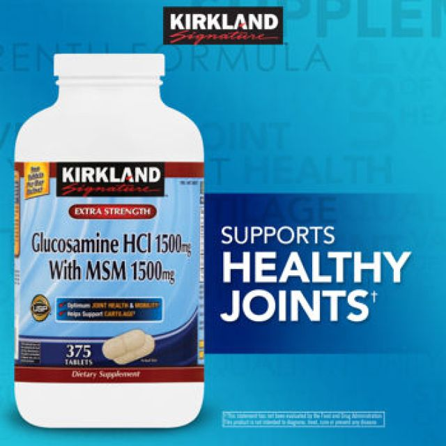 Kirkland Signature Extra Strength Glucosamine 1500mg with MSM 1500mg - 375 Tablets