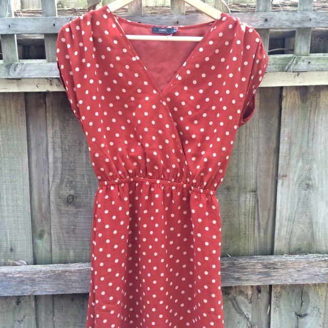 ModCloth orange dot dress S