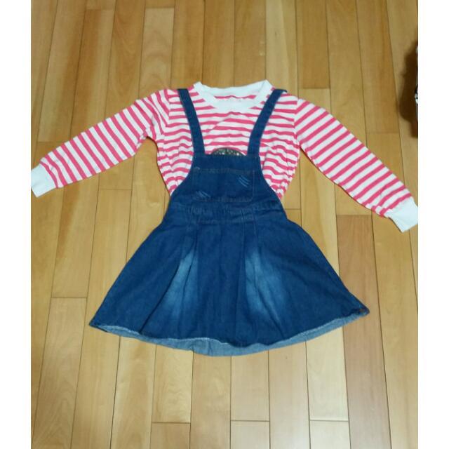 (二手)條紋T吊帶裙