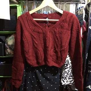 性感❤️短版酒紅色綁帶毛衣