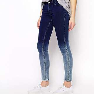 High-Waisted Ombré Mid-Wash Jeans
