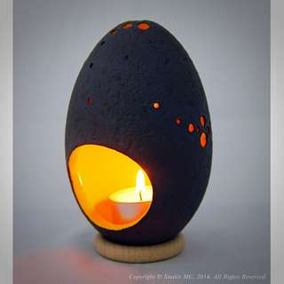 Handcrafted Ceramic Salted-Egg Lantern© - Black/Yellow