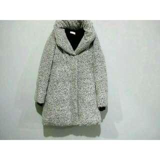 日本_質感灰白粉色圈圈毛大衣外套