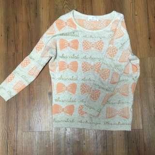粉橘色 蝴蝶結 長袖毛衣