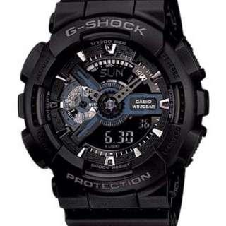 G-Shock GA-110 消光黑銀藍