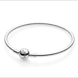 Pandora Limited Edition Silver Bangle Bracelet With Dainty Bow Clasp