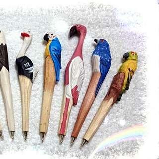 手工木雕動物原子筆