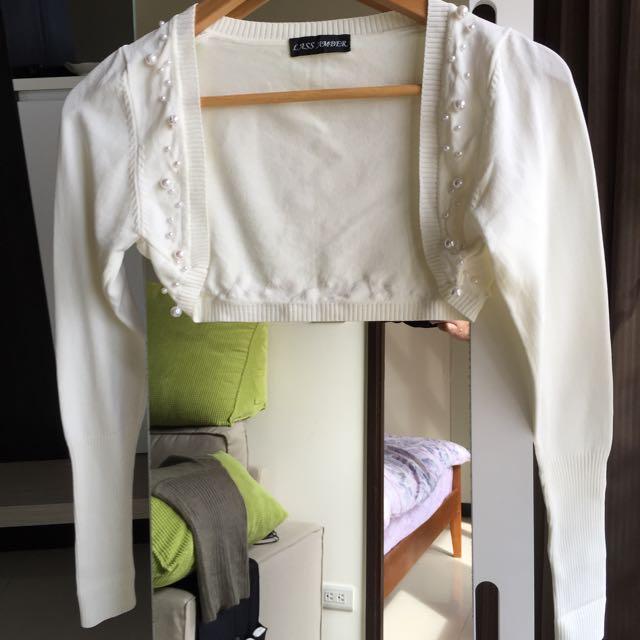全新珍珠短版小外套(可搭配平口、無袖洋裝)