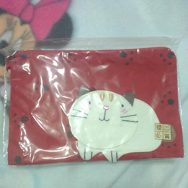 全新-可愛貓咪紅色化妝包