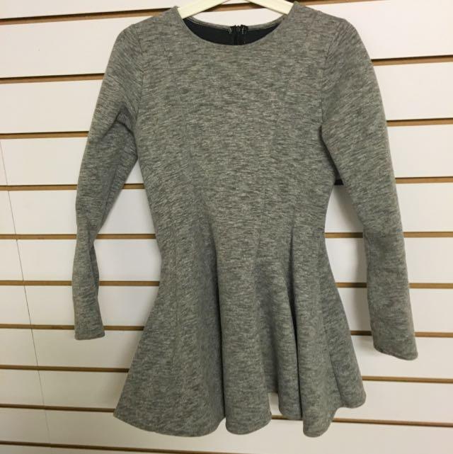 灰色厚棉長袖縮腰洋裝