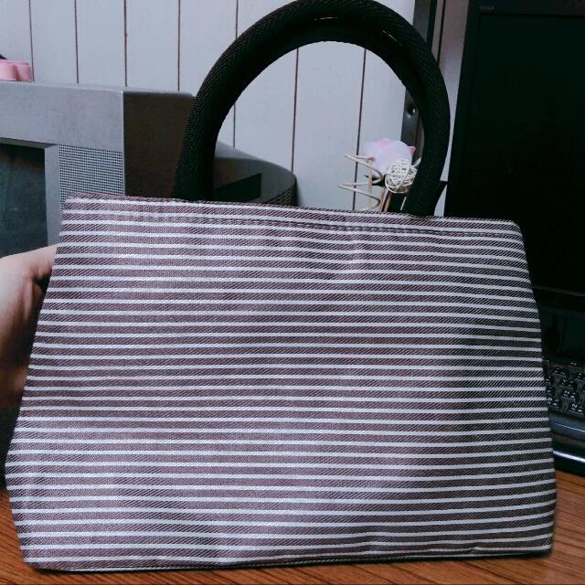 ✨無印風✨條紋手提小包