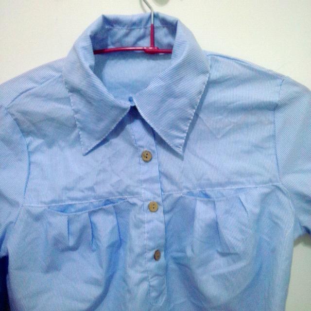 (全新吊牌未拆)藍色長版襯衫