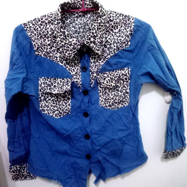 (便宜賣)豹紋拼接襯衫