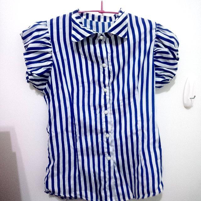 (二手)藍白直條紋短袖雪紡襯衫